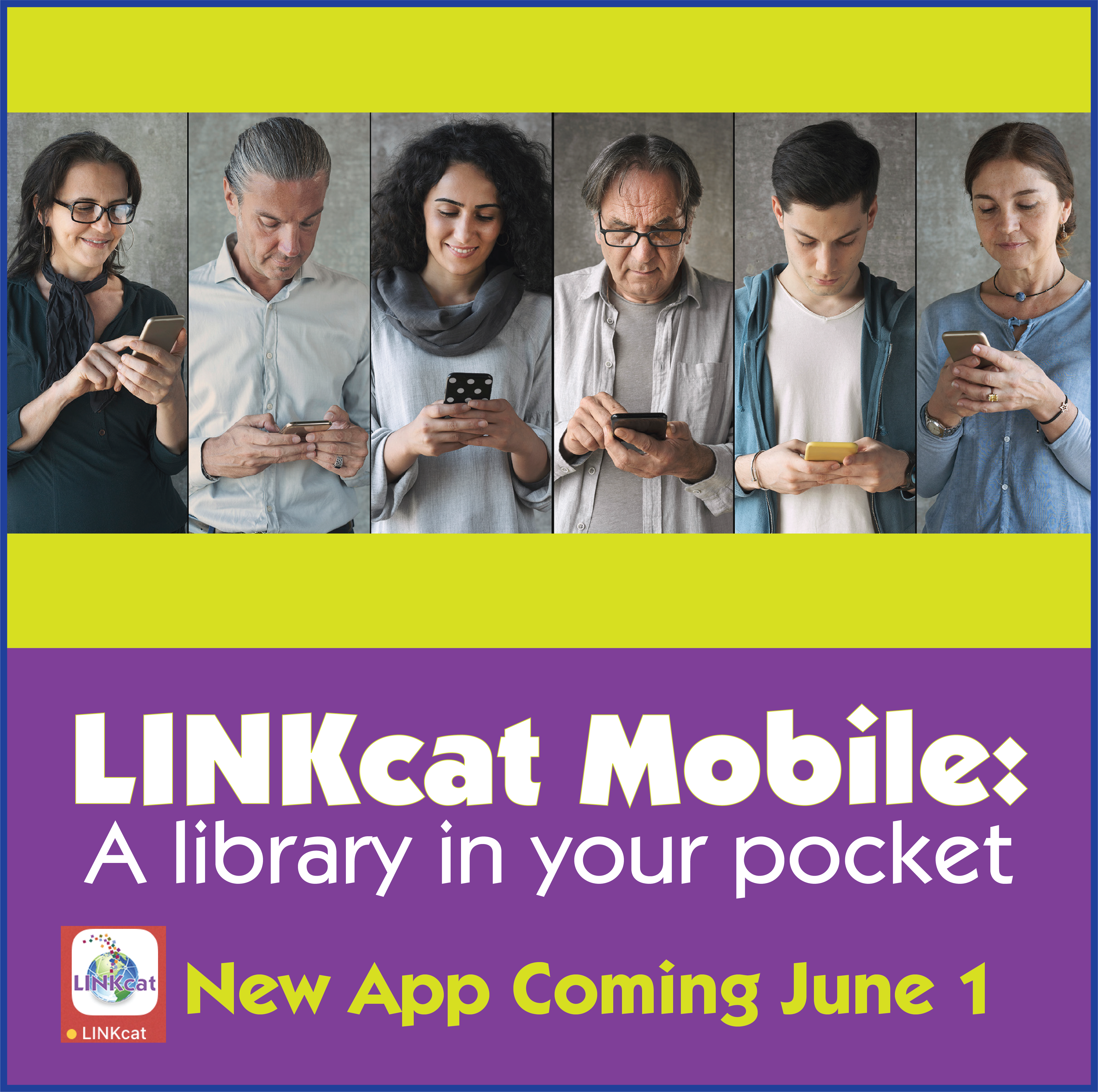 LINKcat Mobile: A library in your pocket. New App coming June 1.