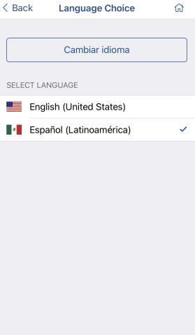 Screenshot of LINKcat Mobile App Select Language screen