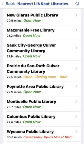 Screenshot of list of LINKcat libraries