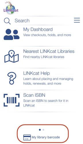 Screenshot of LINKcat Mobile App home screen
