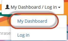 Graphic highlighting the location of the My Dashboard link in the upper right-hand corner of LINKcat