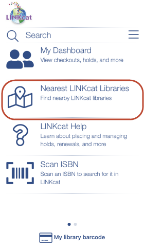 Screenshot of home screen of app with Nearest LINKcat Libraries highlighted