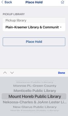 Screenshot of pickup library screen