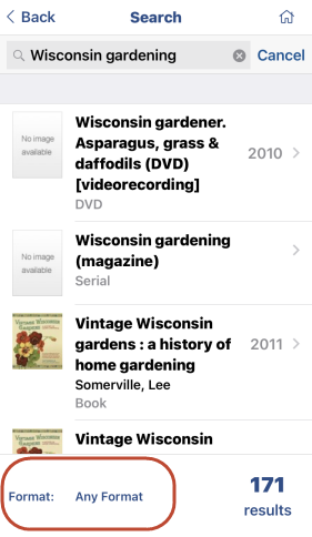 Screenshot of search results for Wisconsin Gardening search